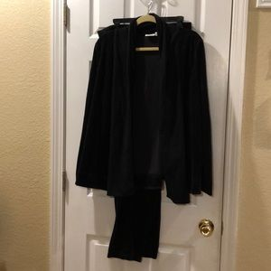 Two piece pants and jacket set.